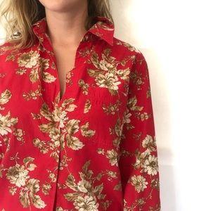VTG 90s Liz Claiborne Shirt Floral Button Down